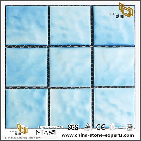 Best Square Swimming Pool Glass Mosaic With Blue Color Light Color