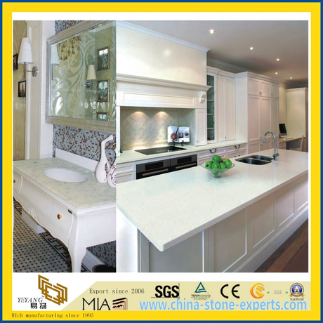 Pure White/Black/Yellow/Grey/Green Polished Artificial Quartz/Granite/Marble Stone Countertop for Kitchen/Bathroom/Hotel
