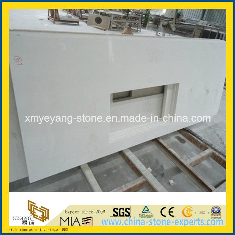 Prefabricated Pure White Quartz Kitchen Worktop or Countertop