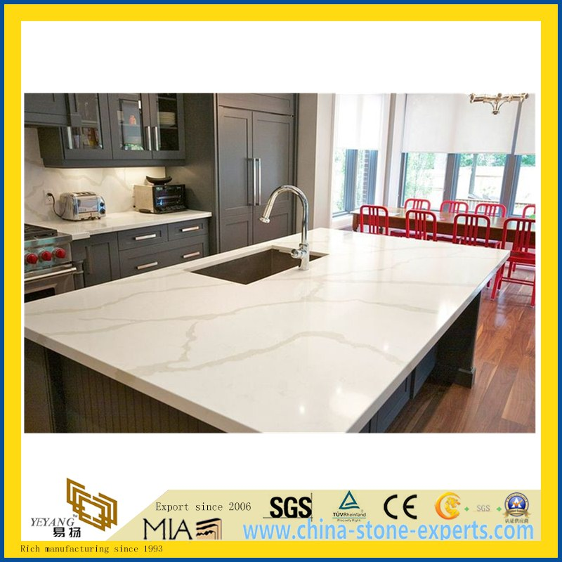 SGS Custom White Calacatta Artifical Quartz Stone Countertop for Kitchen, Island(YQW-QC8023)