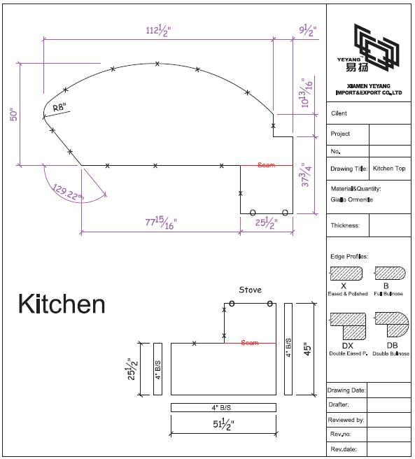 Kitchen countertop cad drawing-yeyang stone